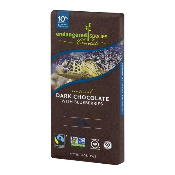 Endangered Species Chocolate Dark Chocolate With Blueberries 72% Cocoa