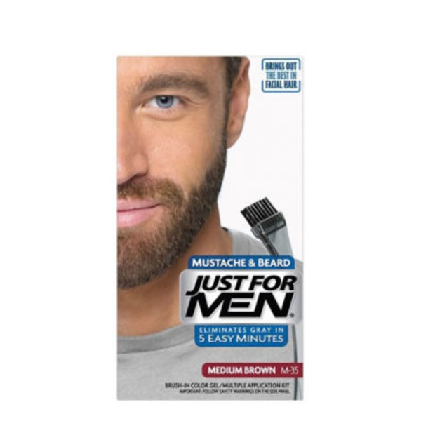 Just For Men Mustache & Beard Brush-In Color Gel, Medium Dark Brown M-40