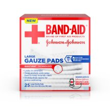 BAND-AID ® Brand Large Gauze Pads, for Minor Cut and Scrapes, 4 Inches by 4 Inches, 25 Count