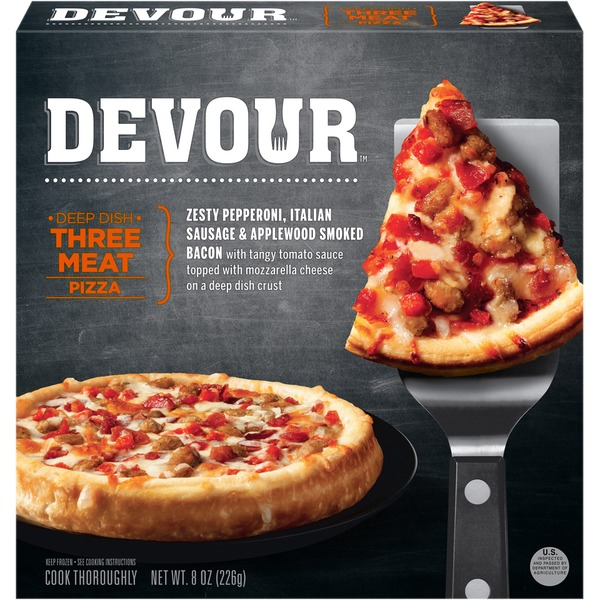Devour Deep Dish Three Meat Pizza Frozen Entree