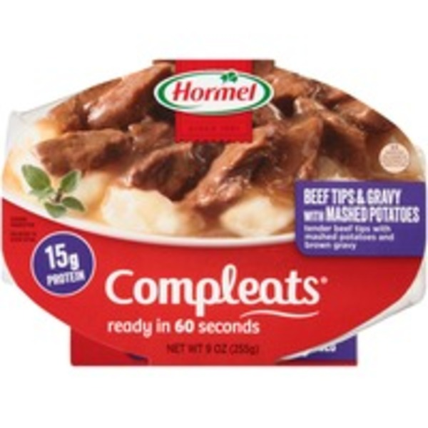 Hormel Beef Tips & Gravy with Mashed Potatoes Compleats