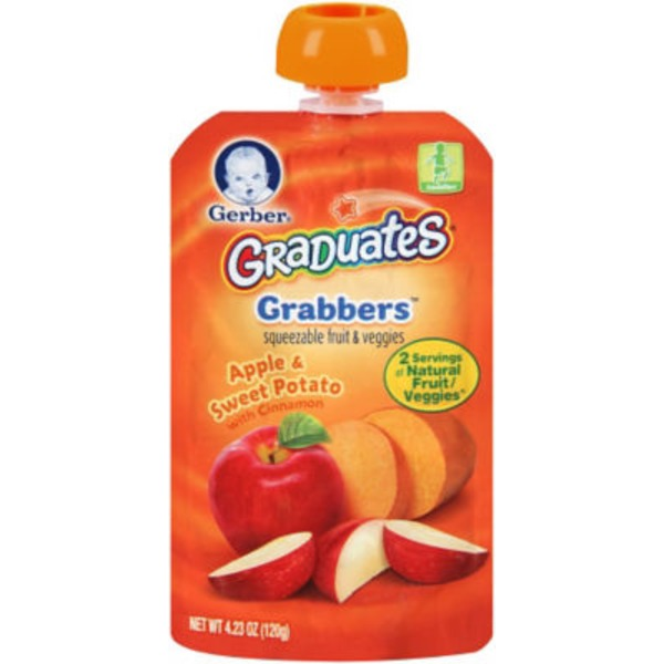 Gerber Grabbers Apple Sweet Potato with Cinnamon Squeezable Puree