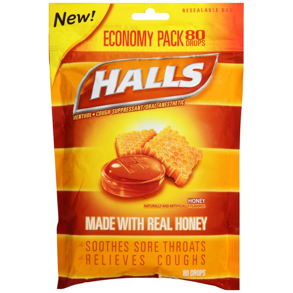 Halls Honey Lemon Menthol Drops Cough Suppressant/Oral Anesthetic