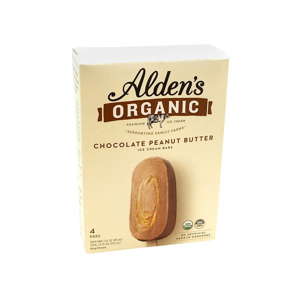 Alden's Ice Cream Organic Peanut Butter Fudge Swirl Bar