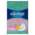 Always Ultra Thin Slender Pads with Wings, Unscented, 36 Ct