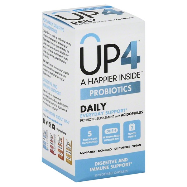 UP4 Probiotics with DDS-1, Daily, Vegetable Capsules