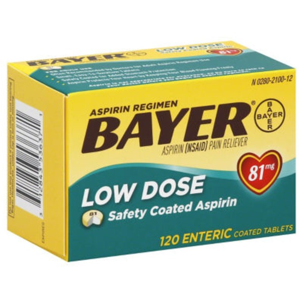Bayer Low Dose Aspirin Regimen Safety Coated Tablets Pain Reliever