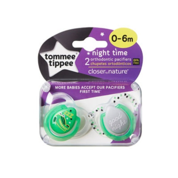 Tommee Tippee Closer To Nature Night Time Glow in the Dark Pacifiers 0-6m - 2 CT