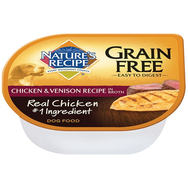 Nature's Recipe Grain Free Easy to Digest Chicken & Venison Recipe in Broth Dog Food