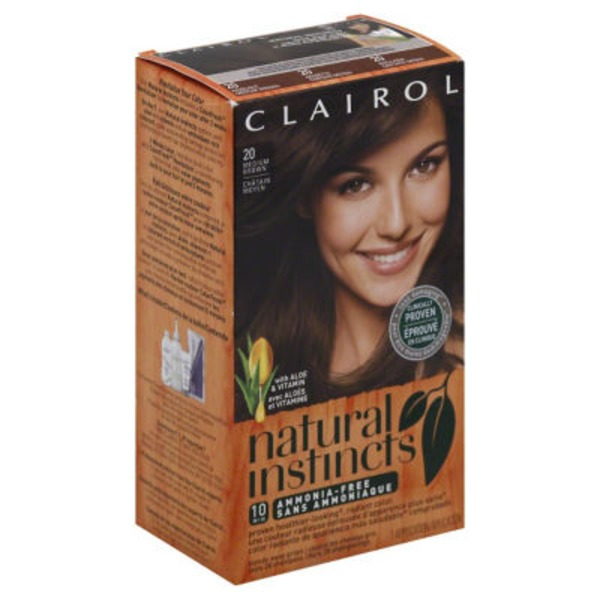 Clairol Natural Instincts 20, Hazelnut, Medium Brown 1 Kit  Female Hair Color