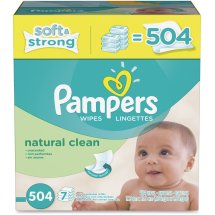 Pampers Natural Clean Baby Wipes Refills, Unscented, 7 packs of 72 (504 count)