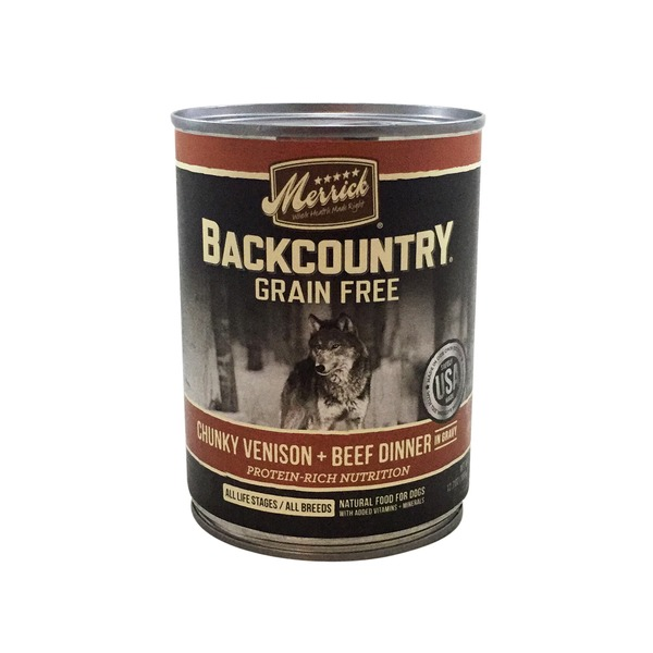 Merrick Backcountry Chunky Venison and Beef Dinner Natural Food for Dogs