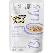 Purina Fancy Feast Broths Creamy with Wild Salmon & Whitefish Gourmet Cat Complement 1.4 oz. Pouch