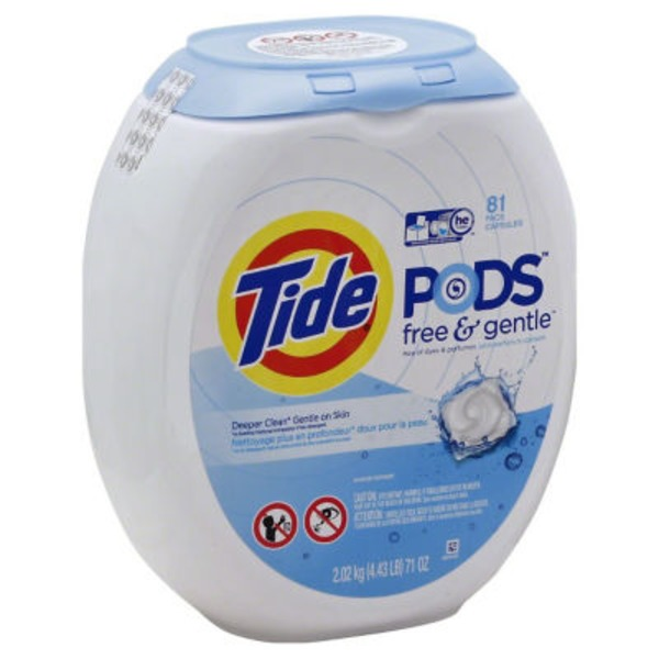 Tide PODS Free & Gentle HE Turbo Laundry Detergent Pacs 81 count Tub Laundry