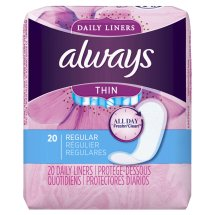 Always Thin Daily Liners, Regular, Unscented, 20 Count