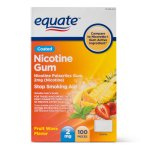 Equate Coated Nicotine Gum Stop Smoking Aid Fruit Wave Flavor, 2 mg, 100 Ct