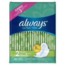 Always Ultra Thin Pads with Wings, Long, Super, 42 Count