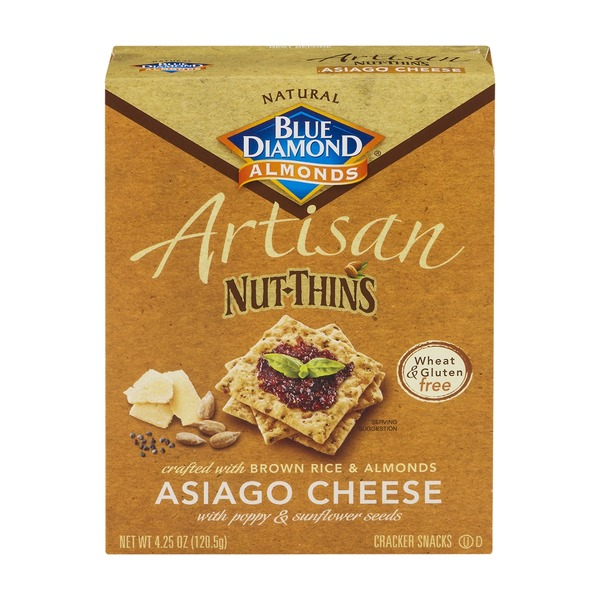 Blue Diamond Almonds Artisan Nut-Thins Crackers Asiago Cheese