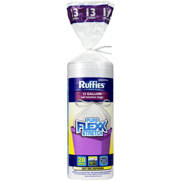 Ruffies Tall Kitchen Pure Flexx Stretch Odor Control Right Fit Drawstring 13 Gal Trash Bags