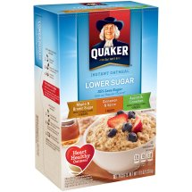 Quaker Instant Oatmeal Lower Sugar Variety Pack, Maple & Brown Sugar, Cinnamon & Spice, and Apples & Cinnamon, 10 Count