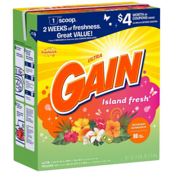 Gain Powder Laundry Detergent, Island Fresh Scent, 80 loads, 91oz Laundry
