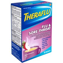 Theraflu Flu & Sore Throat Medicine, Apple Cinnamon Flavors, Hot Liquid Powder Packets, 6 count