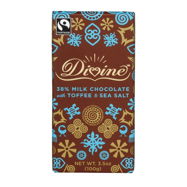 Divine Chocolate Bar Milk Chocolate With Toffee & Sea Salt