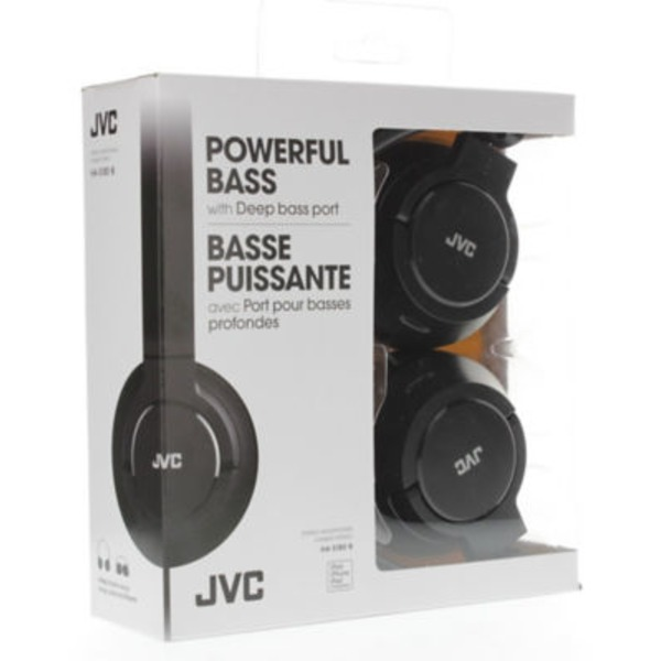 JVC Black Lightweight Flat Folding Headphone