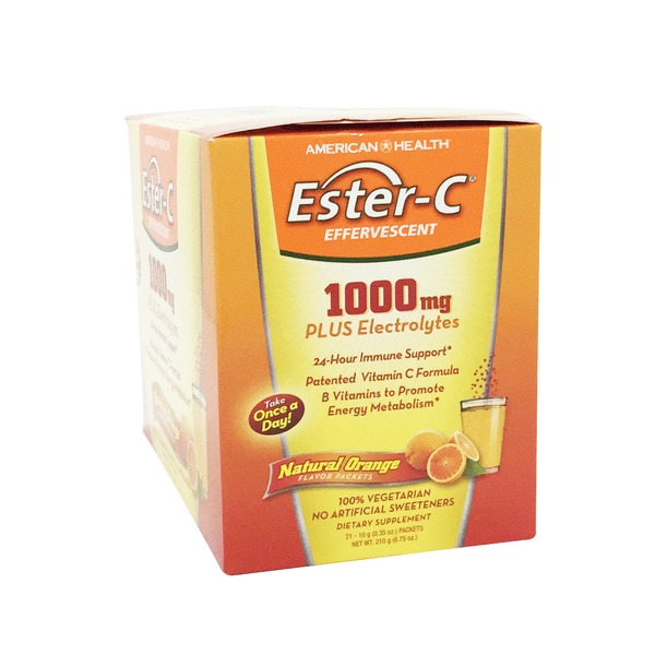 American Health Ester C Effervescent 1,000 mg Natural Orange Flavor packets