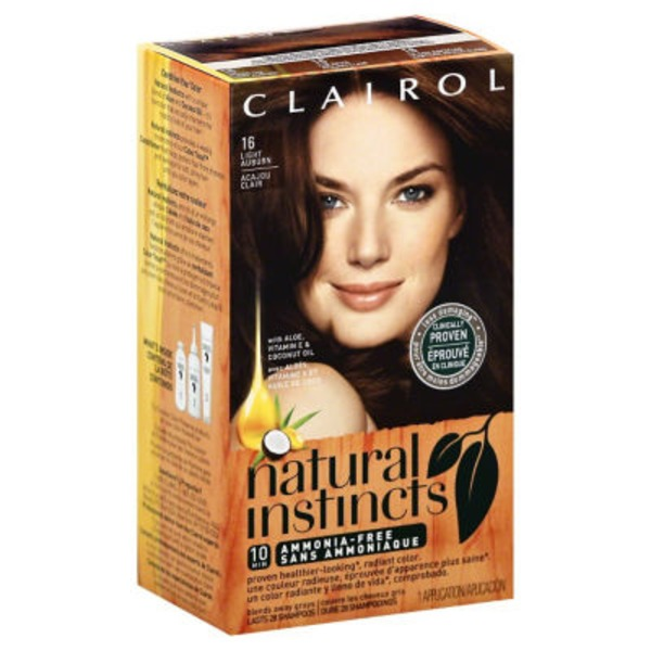 Clairol Natural Instincts, 6.5R / 16 Spiced Tea Light Auburn, Semi-Permanent Hair Color, 1 Kit Female Hair Color