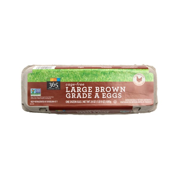 365 Cage Free Non Gmo Fed Large Brown Grade A Eggs