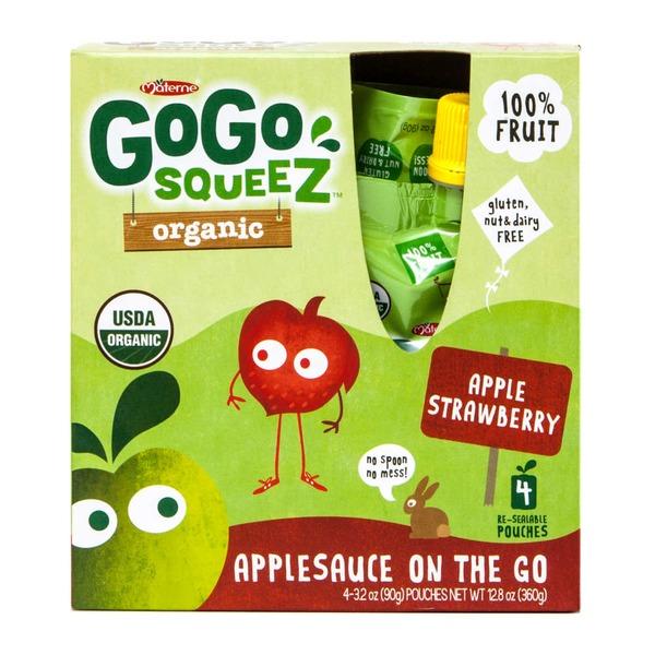 Gogo Squeez Organic Apple Strawberry Applesauce on the Go