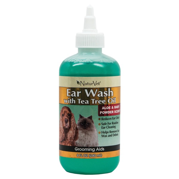 NaturVet Ear Wash With Tea Tree Oil Aloe & Baby Powder Scent Grooming Aids