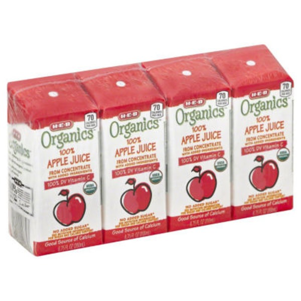 H-E-B Organics 100% Apple Juice Box