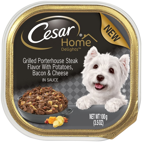 Cesar Home Delights Canine Cuisine Grilled Porterhouse Steak Flavor with Potatoes, Bacon & Cheese in Sauce Wet Dog Food