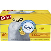 Glad OdorShield Tall Kitchen Drawstring Trash Bags, Febreze Fresh Lemon, 13 Gallon