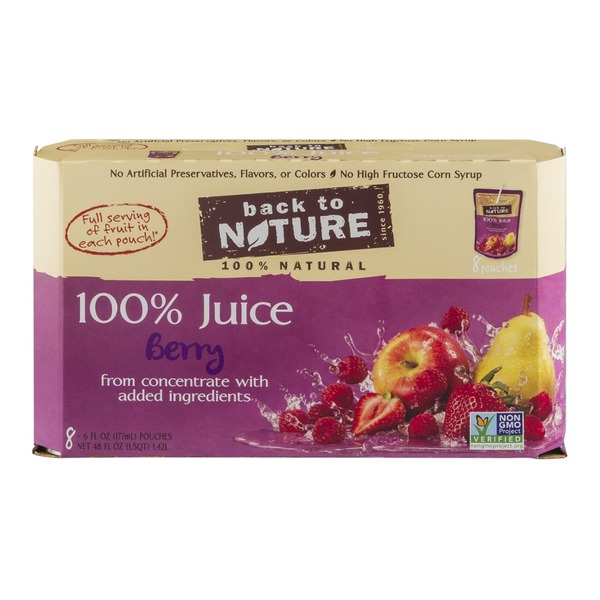 Back to Nature 100% Juice Pouches Berry - 8 CT