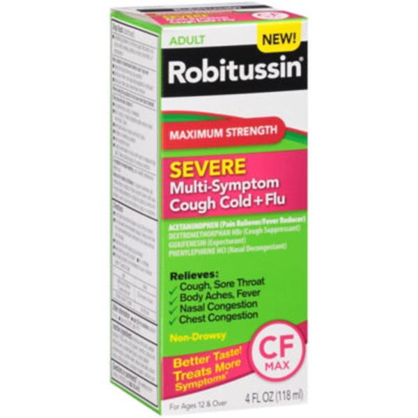 Robitussin Adult CF Max Severe Maximum Strength Liquid Pain Reliever/Fever Reducer/Cough Suppressant/Expectorant/Nasal Decongestant