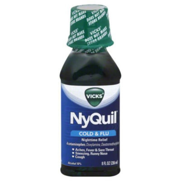 Vicks NyQuil Cold & Flu Nighttime Relief Original Flavor Liquid 8 fl oz (Pack of 12) Respiratory Care