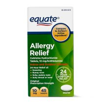 Equate Allergy Relief Cetirizine Antihistamine Tablets, 10 mg, 45 Ct