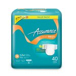 Assurance Incontinence Stretch Briefs With Tabs Unisex, Ultimate, S/M, 40 Ct