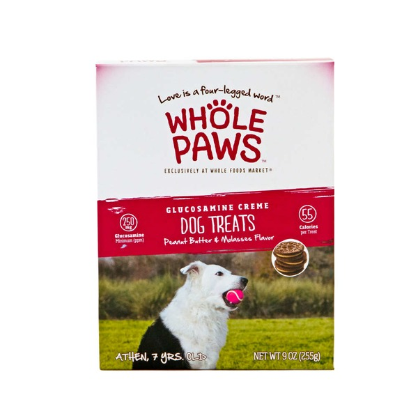 Whole Paws Peanut Butter & Molasses Glucosamine Creme Dog Treats