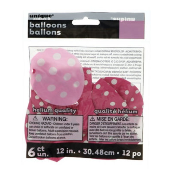 Unique 12 In. Hot Pink Dots Balloons