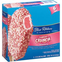 Blue Bunny Frozen Sundae Crunch Bars Strawberry 3.0 oz 6 ct Carton Ice Cream Bars, 6 ct