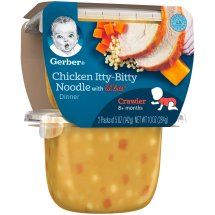 Gerber 3rd Foods Lil' Bits Chicken Itty-Bitty Noodle Dinner Baby Food, 5 oz Tubs, 2 Count