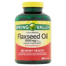Spring Valley Flaxseed Oil Softgels, 1000 mg, 200 Ct