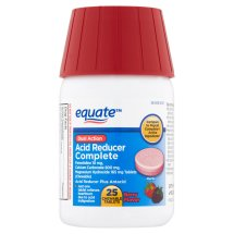 Equate Dual Action Acid Reducer Famotidine Chewable Berry Tablets, 10 mg, 25 Ct