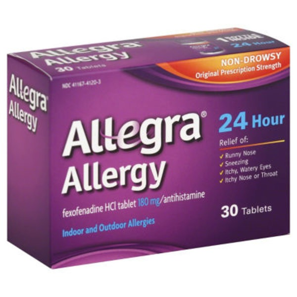 Allegra Allergy 24 Hour Relief Indoor and Outdoor Allergies - 30 CT