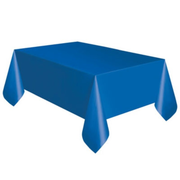Unique Solid Blue Plastic Table Cover