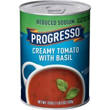 Progresso Soup, Reduced Sodium, Creamy Tomato Basil Soup, 19 oz Can, 19.0 OZ